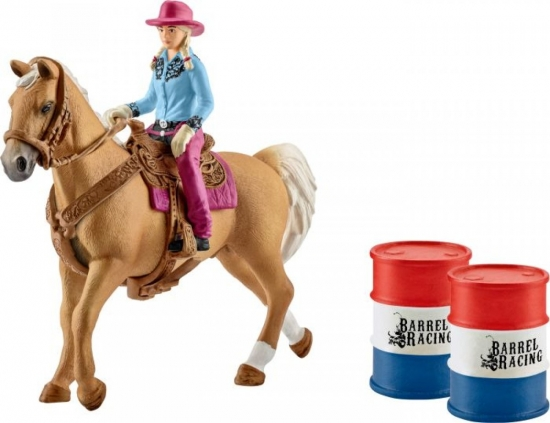 Barrel racing mit Cowgirl